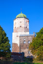Vyborg castle with tourists on observation deck russia september walking the roof Stock Images