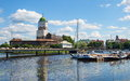 Vyborg view of the medieval castle in and pier with yachts Royalty Free Stock Image