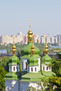 Vydubychi monastery domes and crosses view of green golden of in kiev Royalty Free Stock Photography