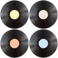 Vynil gramophone record disk set isolated Stock Image