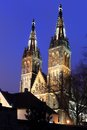 Vysehrad cathedral basilica of st peter and st paul in in prague at night czech republic Royalty Free Stock Images