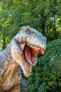 Vyskov czech republic tourist attraction realistic model of big tyranosaurus rex in jungle Stock Image