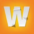 W capital letter fold english alphabet New design
