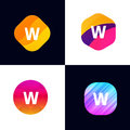 W letter vector company icon signs flat symbols logo set Royalty Free Stock Photo