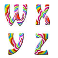 W,x,y,z, Colorful wave font illustration. Stock Photo