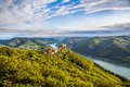 Wachau landscape with castle ruin and Danube river at sunset, Austria Royalty Free Stock Photo