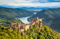 Wachau landscape with danube river at sunset austria beautiful aggstein castle ruin and in Royalty Free Stock Photos