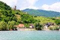 Wachau valley austria hinterhaus castle and village of spitz Royalty Free Stock Photos