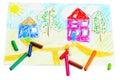 Wachszeichenstifte und eine Zeichnung der Kinder. Lizenzfreies Stockfoto