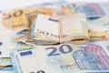 Wad of euro cash bills banknotes Royalty Free Stock Photo