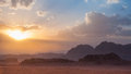 Wadi rum desert jordan sunset at in Royalty Free Stock Photography