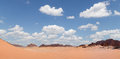 Wadi rum desert panoramic view southern jordan also known as the valley of the moon is a valley cut into the sandstone and granite Royalty Free Stock Photo