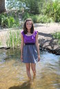 Wading in a Lake is a Summer Dress Royalty Free Stock Photography