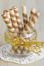 Wafer roll sticks cream rolls in a cup Royalty Free Stock Photo