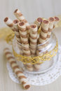 Wafer roll sticks cream rolls in a cup Royalty Free Stock Photography