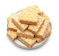 Wafer on saucer white background Royalty Free Stock Image