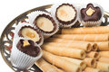 Wafer tubules with sweets Stock Image