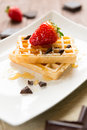 Waffel with strawberry, honey and chocolate Royalty Free Stock Image
