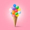 Waffle cornet with balloons Royalty Free Stock Photo