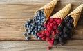 Waffle with fresh berries. Berries. Raspberries, blackberries, blueberries in waffle cones Royalty Free Stock Photo