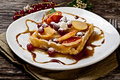 Waffle with fruits Royalty Free Stock Photos