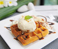 Waffle and ice-cream Royalty Free Stock Images