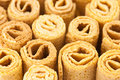 Waffle rolls background Stock Photos
