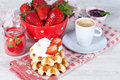 Waffle with strawberries Stock Image