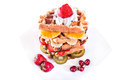 Waffle with vanilla cream Royalty Free Stock Photography