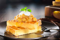 Waffles with apple topping Royalty Free Stock Images