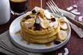 Waffles with banana slices and chocolate Royalty Free Stock Photo