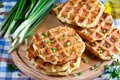 Waffles with cheese and onions Royalty Free Stock Photo