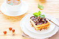Waffles with chocolate and green tea for breakfast food closeup Royalty Free Stock Photography