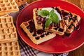 Waffles with chocolate sauce whipped cream and confiture on plate Royalty Free Stock Images