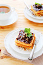 Waffles with chocolate and tea Royalty Free Stock Photo