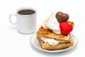 Waffles and coffee sweet with whipped cream chocolate marzipan candies a cup of Stock Photo