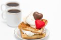 Waffles and coffee sweet with whipped cream chocolate two cups of Stock Photography