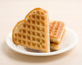 Waffles composition the with white dish Stock Photos