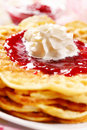 Waffles with fresh strawberry jam Stock Photos