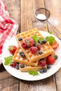 Waffles with fruits Royalty Free Stock Photo