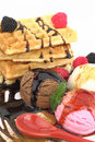 Waffles with ice cream Royalty Free Stock Photo