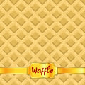 Waffles pattern seamless texture with gold ribbon vector illustration Stock Photography