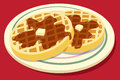 Waffles on a plate with syrup and butter Royalty Free Stock Photo