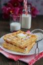 Waffles powered sugar glasses milk bakground Royalty Free Stock Photography