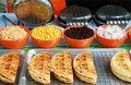 Waffles shop and corn resin and nut Royalty Free Stock Images