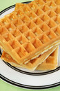 Waffles stack of plain with no butter or syrup Royalty Free Stock Photography
