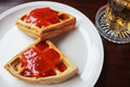 Waffles with strawberries breakfast and copyspace composition Stock Image