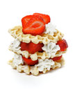 Waffles with Strawberries and Whipped Cream Royalty Free Stock Images