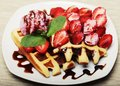 Waffles with strawberry and ice cream Royalty Free Stock Photo
