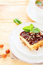 Waffles and tea breakfast food closeup Royalty Free Stock Images